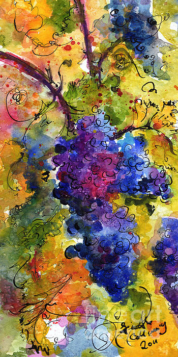 Blue Grapes Print by Ginette Fine Art LLC Ginette Callaway