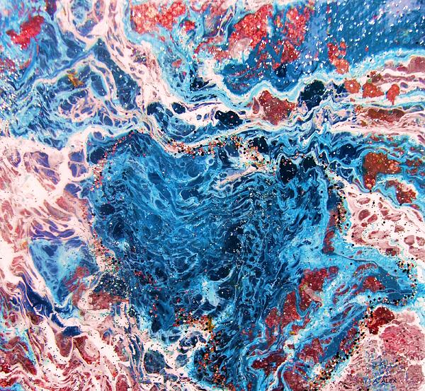 Blue Heart Rock Print by Andria Alex