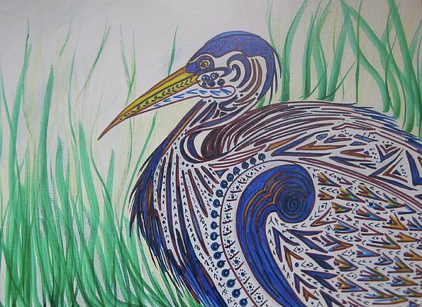 Blue Heron For Lana Print by Dawn Van Ness
