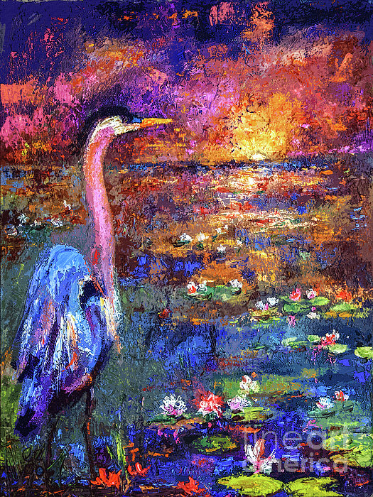 Blue Heron Sunset Print by Ginette Callaway