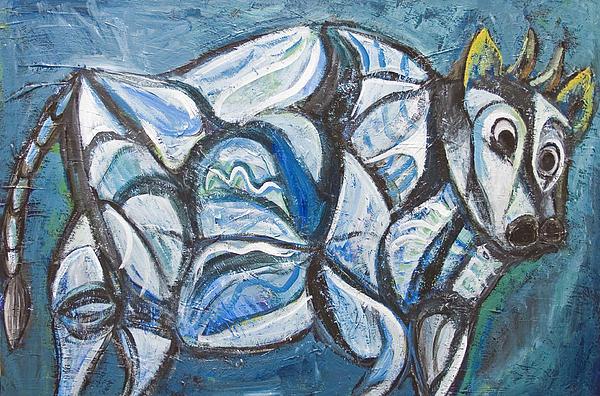 Blue Jeweled Cattle Print by Kazuya Akimoto
