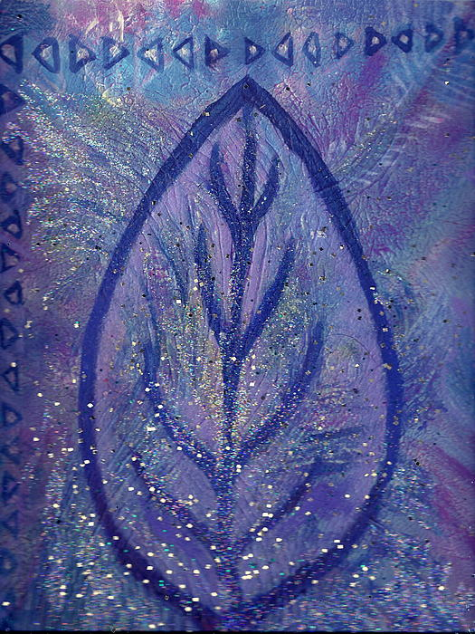 Blue Leaf Rising Painting