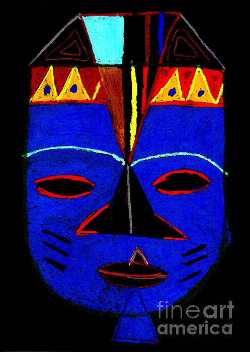 Blue Mask Print by Angela L Walker