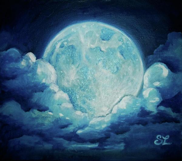 Blue Moon Print by Sarah Lonthier