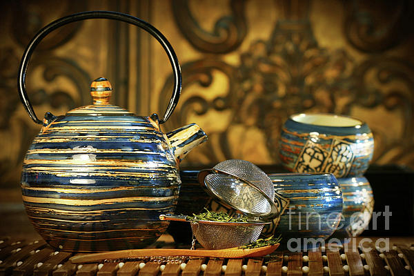 Blue Oriental Teapot With Cups  Print by Sandra Cunningham