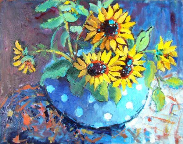 Blue Polka Dot Bowl Print by Sharon Furner