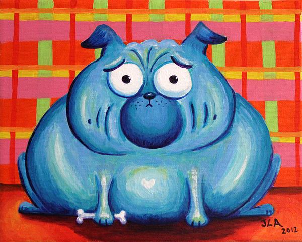 Blue Pudgy Pug Print by Jennifer Alvarez