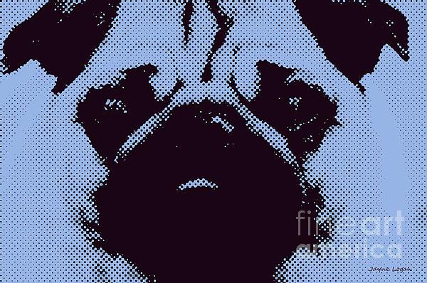 Blue Pug Print by Jayne Logan Intveld