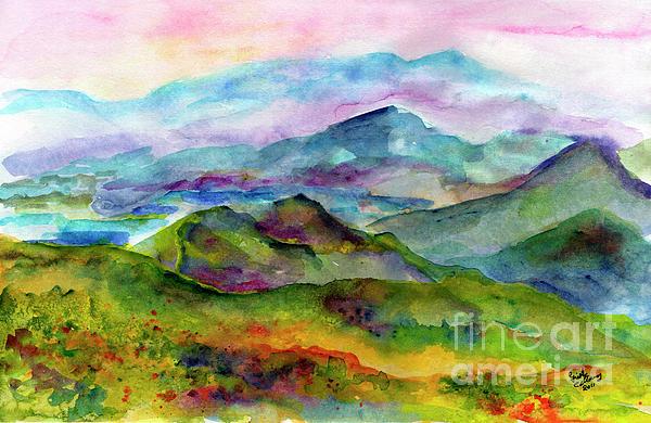 Blue Ridge Mountains Georgia Landscape  Watercolor  Print by Ginette Fine Art LLC Ginette Callaway