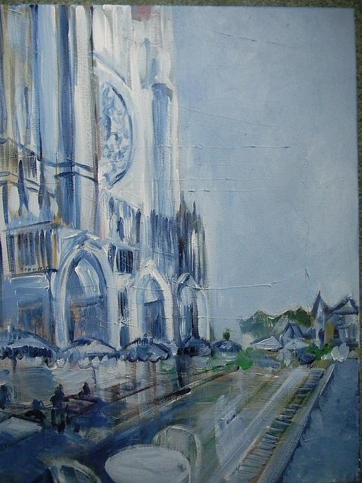 Blue Study Of Chartre Print by Carol Mangano