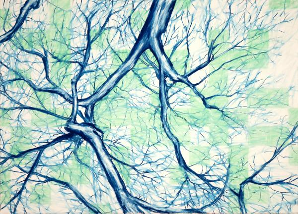 Blue Tree With Green Sky Print by John Terwilliger