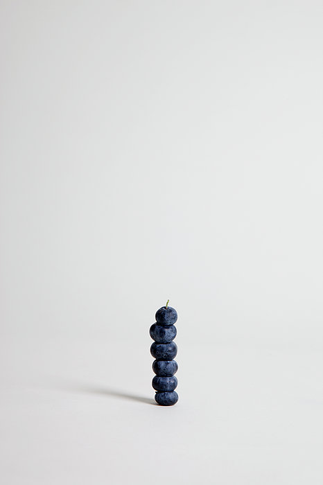 Blueberries Arranged Into A Stack, Studio Shot Print by Halfdark