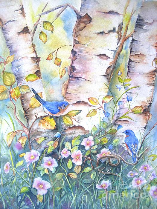 Patricia Pushaw - Bluebirds and birch trees