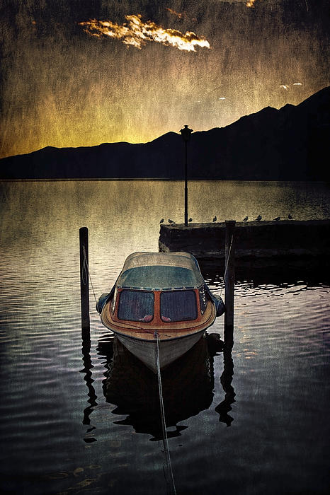Boat During Sunset Print by Joana Kruse