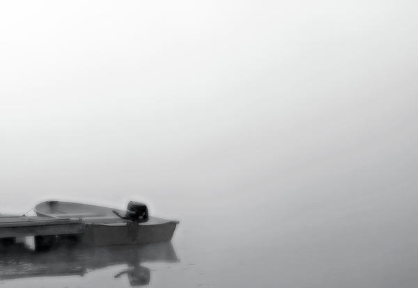 Boat In Fog On Lake Black And White Print by Randy Steele