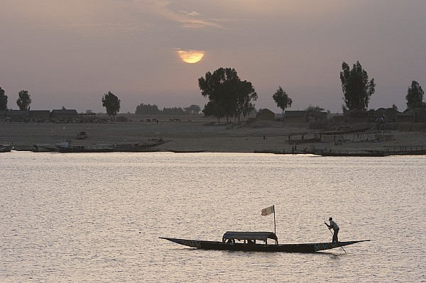 Boat On The Niger River In Mopti, Mali Print by Peter Langer