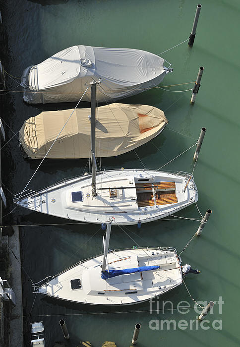Boats And Water From Above Print by Matthias Hauser