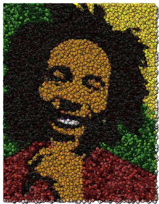Bob Marley Bottle Cap Mosaic Print by Paul Van Scott