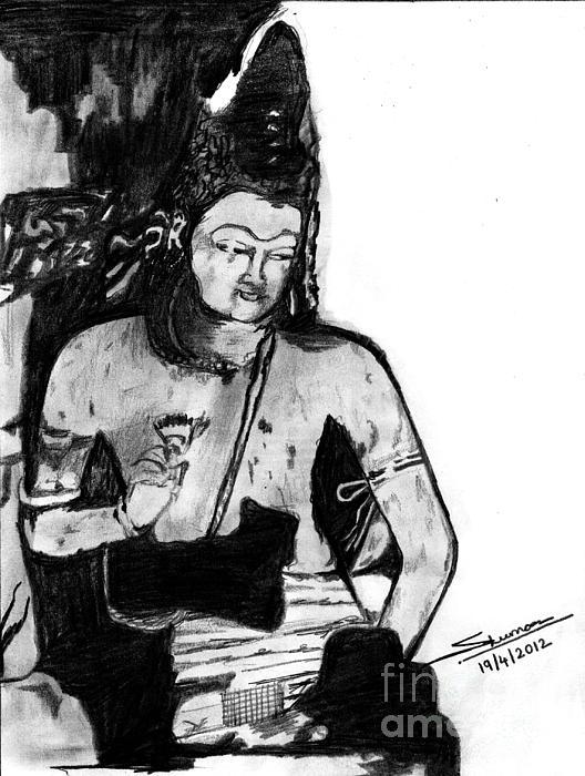 Bodhisatva Ajantha Cave Painting Print by Shashi Kumar