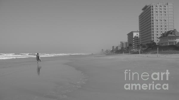 Body Boarding In Black And White Print by Mandy Shupp