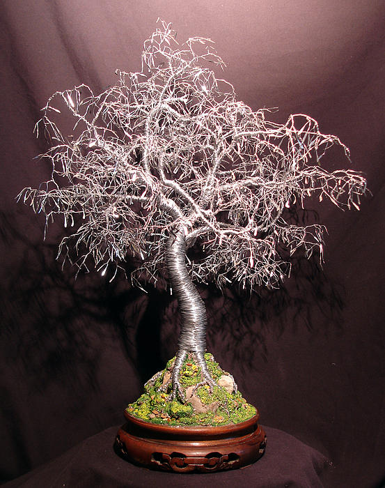 Bonsai With Hammered Leaves Sculpture