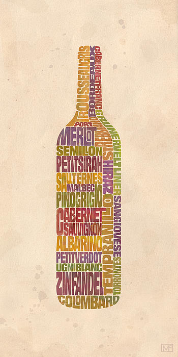 Bordeaux Wine Word Bottle Print by Mitch Frey