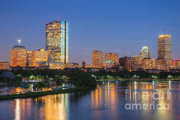 Boston Night Skyline II Print by Clarence Holmes