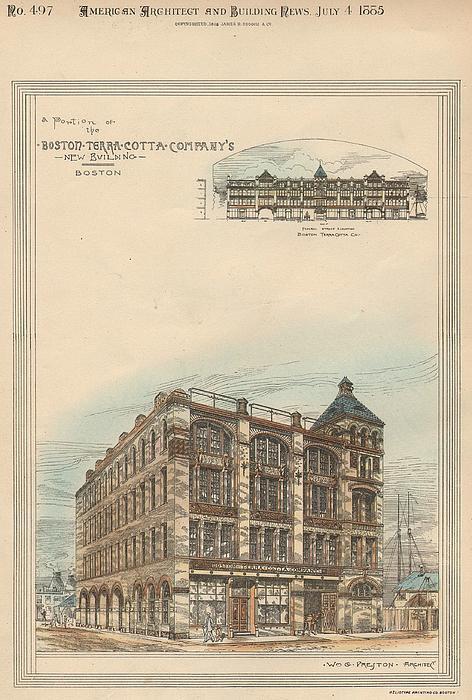 Boston Terra Cotta Building Boston Ma 1883 Print by William Preston