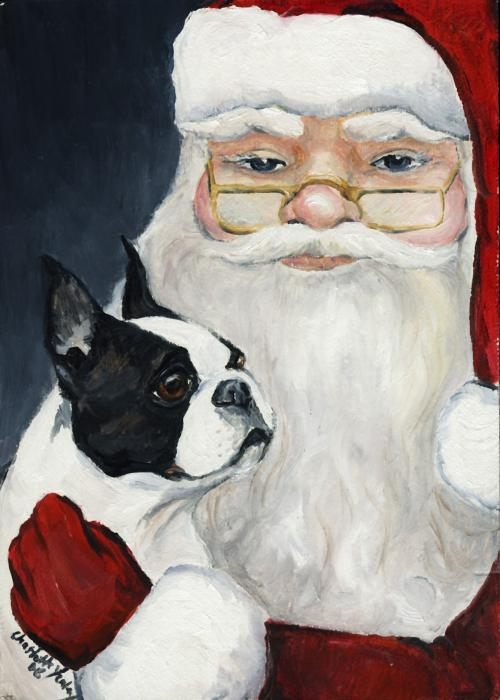 Boston Terrier With Santa Print by Charlotte Yealey