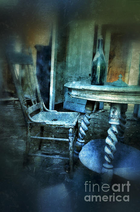 Bottle On Table In Abandoned House Print by Jill Battaglia