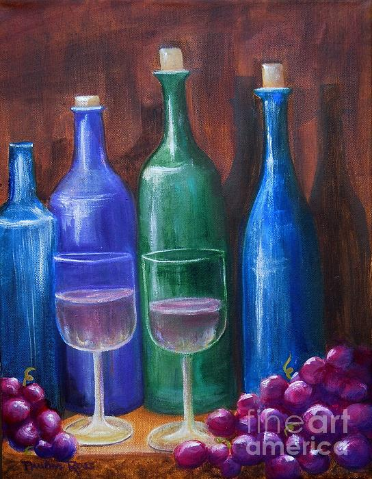 Bottles And Grapes Print by Pauline Ross