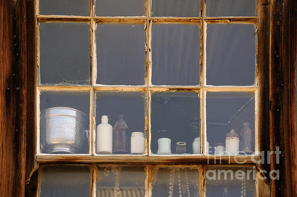 Bottles In The Window Print by Vivian Christopher