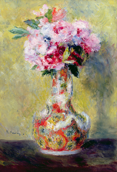 Bouquet In A Vase Print by Pierre Auguste Renoir