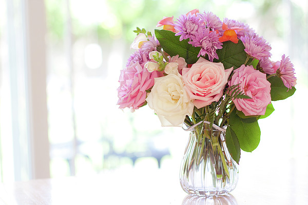 Bouquet Of Flowers On Table Near Window Print by Jessica Holden Photography