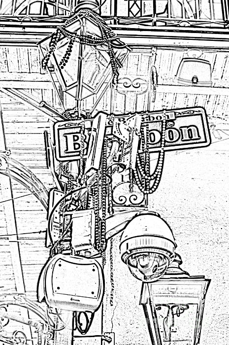 Bourbon Street Sign And Lamp Covered In Beads Black And White Photocopy Digital Art Print by Shawn O'Brien