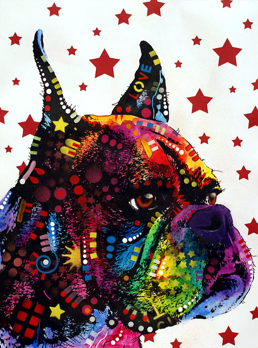 Boxer Love Print by Dean Russo