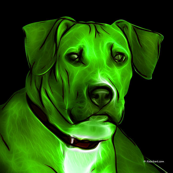 Boxer Pitbull Mix Pop Art - Green Print by James Ahn