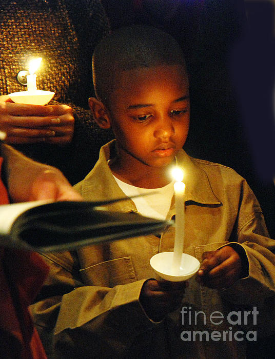 Boy By Candlelight Print by Jim Wright
