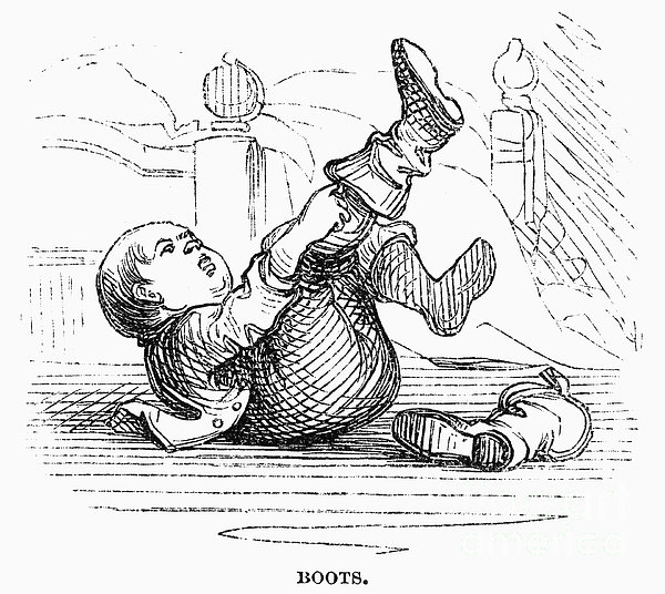 Boy Putting On Boots Print by Granger