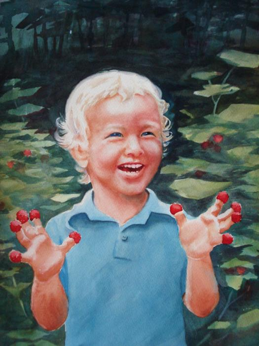 Boy With Raspberries Painting  - Boy With Raspberries Fine Art Print