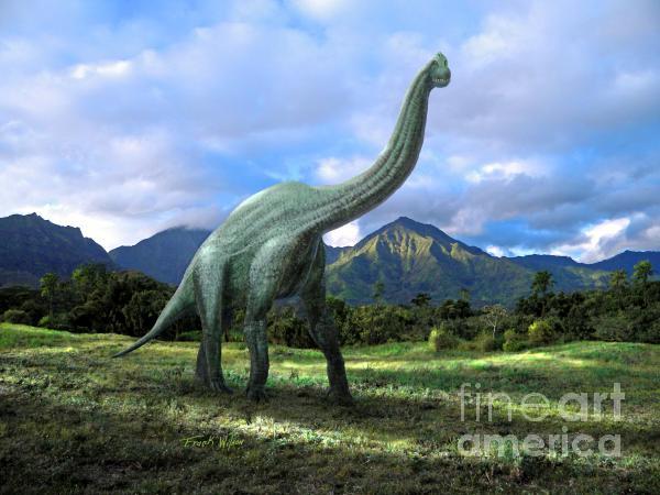 Brachiosaurus In Meadow Print by Frank Wilson