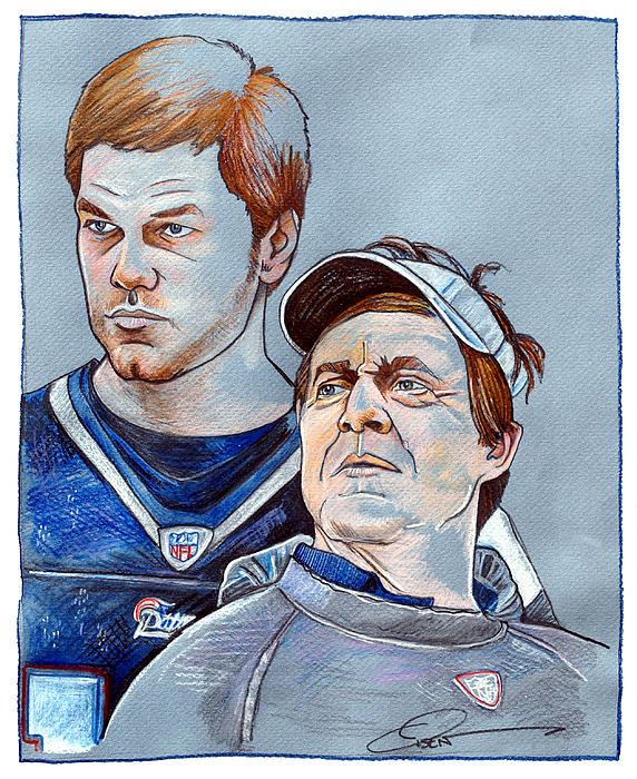 Brady And Belichick Print by Dave Olsen