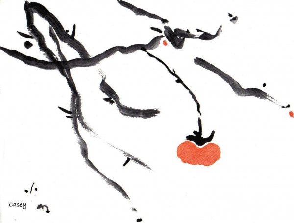 Branches With A Persimmon Print by Casey Shannon