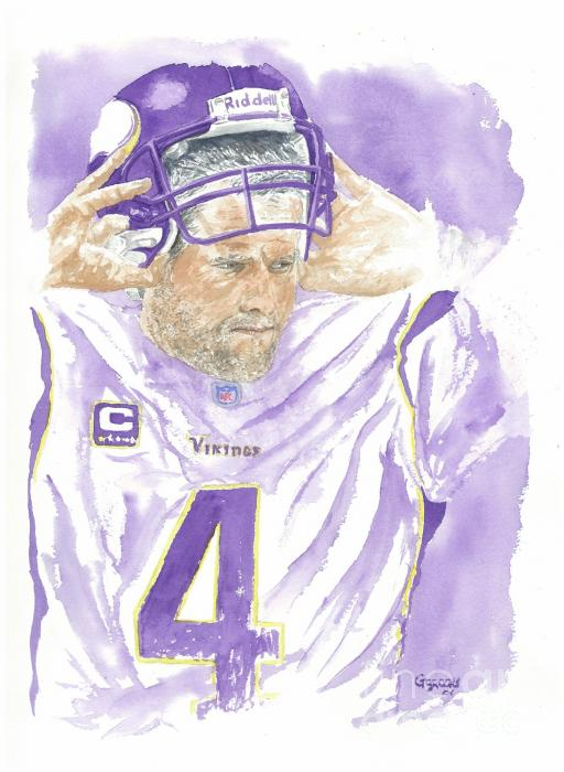 Brett Favre - The Old Warrior Print by George  Brooks