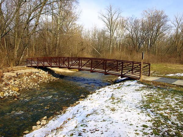 Bridge Over The Creek In Winter Print by Mike Stanfield