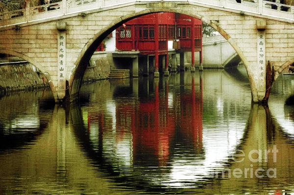 Bridge Over The Tong - Qibao Water Village China Print by Christine Till