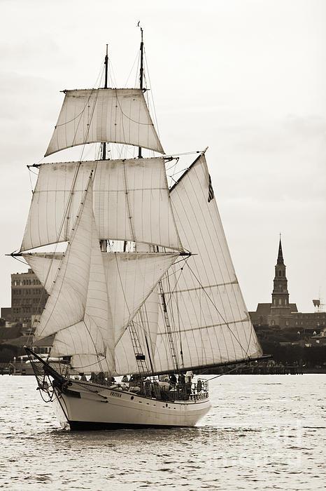 Brigantine Tallship Fritha Sailing Charleston Harbor Print by Dustin K Ryan