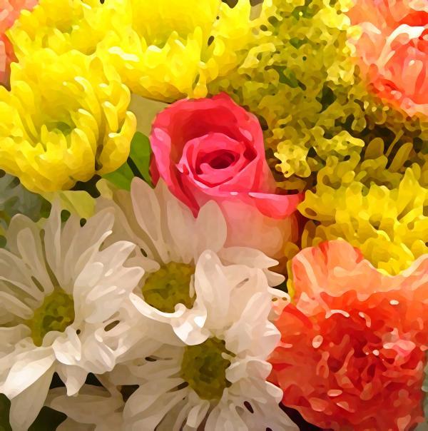 Bright Spring Flowers Print by Amy Vangsgard