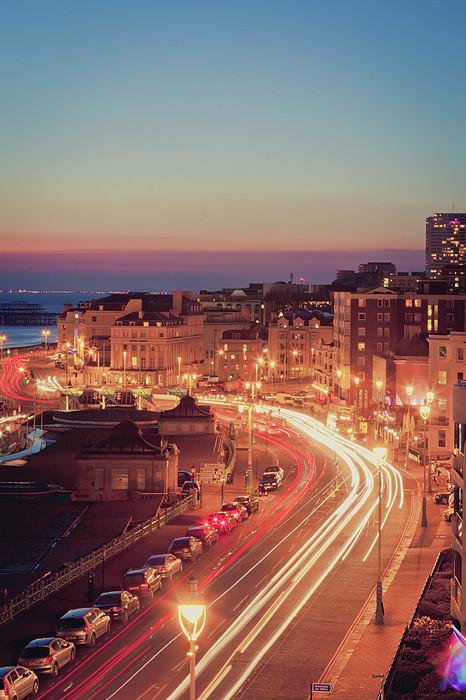 Brighton - Coastal Uk City At Night, Long Exposure Print by PhotoMadly