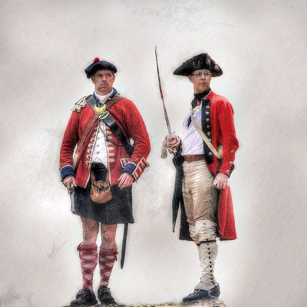 British Officer And Soldier Digital Art  - British Officer And Soldier Fine Art Print